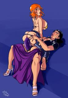 Toon sex pic ##000130965520 2girls anal devil hs dildo nami nico robin one piece straddle yuri