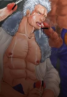 Toon sex pic ##000130945467 3boys bara censored gay male multiple boys one piece oral smoker white hair yaoi
