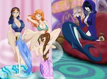 Toon sex pic ##000130939287 5girls blush breasts cleavage cunnilingus madame shyarly mermaid mero nami nico robin one piece pipe seira shyarly smoking yuri