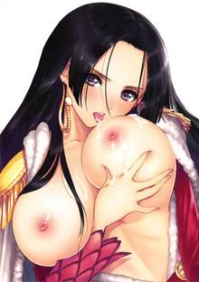 Toon sex pic ##0001301494061 black hair boa hancock breasts cape cum dress female high resolution huge breasts licking long hair nipples one piece solo tanaka takayuki