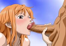 Toon sex pic ##0001301447100 bare shoulders blush brown eyes censored fellatio female highres long hair looking down nami nel-zel formula nude one piece open mouth oral orange hair penis simple background standing sweat testicles