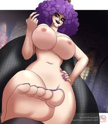 Toon sex pic ##000130690482 afro barefoot beige skin breasts brown eyes color emporio ivankov female female only front view hair hand on hip human mokusa nipples nude one piece open eyes purple hair rule 63 solo