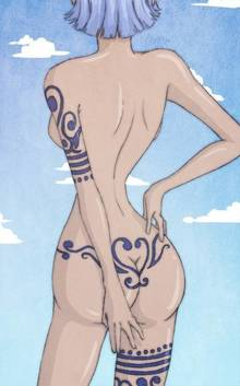 Toon sex pic ##0001301216753 female ass back blue hair blue sky clouds female hairband hand on hip hips nojiko nude one piece short hair sky solo standing tattoo