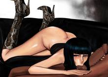 Toon sex pic ##000130673125 ass bangs black hair blue eyes blunt bangs blush boots censored dark-skinned male high heels huge cock interracial komii long hair looking at viewer nico robin one piece penis shoes sucking testicles sweat tear