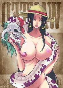 Toon sex pic ##000130557027 areola black hair boa hancock breasts erect nipples forked tongue nipple licking nipples nude one piece salome snake straw hat tongue out turtlechan