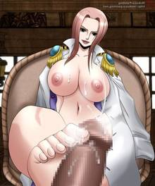 Toon sex pic ##000130444940 ass bare feet bare feet barefeet breasts brown eyess coat covering crotch cum ejaculation feetjob hand on crotch hina hina (one piece) leg lift lipstick masturbation mokusa naked nipples nude one piece pink hair pussy steam