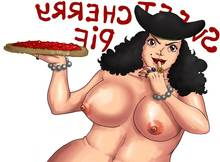 Toon sex pic ##000130427224 beige skin black hair blackbeard bracelet breasts brown eyes color curly hair female female only food front view hair hat holding jewelry looking at viewer nipples nude one piece open eyes ring rule 63 solo sucking finger white background