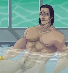 Toon sex pic ##000130320762 front view human male male only nude one piece sir crocodile sitting solo water