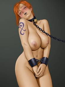 Toon sex pic ##0001301382511 blush bound breasts collar color covering female female only front view hair handcuffs karma laboratory nami nipples one piece orange hair restrained solo standing tagme tattoo