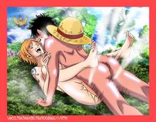 Toon sex pic ##0001301380503 ass black hair breasts color day female hair hat human jaredofart male monkey d luffy motion lines nami nude one piece orange hair outdoors sex straight tagme tattoo